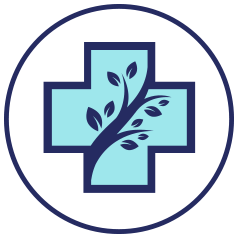 Plus symbol in teal and navy with leafy branch for alternative options