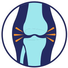 blue and teal icon showing painful knee arthritis on transparent background