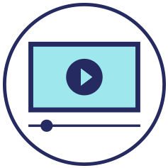 Teal educational video icon with track bar and navy circle