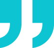 Right quotation mark in solid teal with transparent background