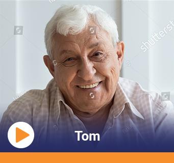 Video thumbnail showing senior man's video testimonials and the word Tom