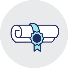 White scroll with blue ribbon certificate icon on transparent background