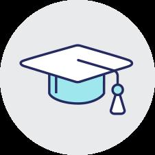 white and blue graduation cap on transparent background