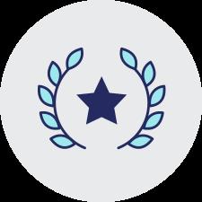 Laurel leaves with navy start on transparent background