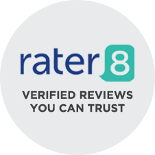 Round badge that reads rater 8 verified reviews you can trust